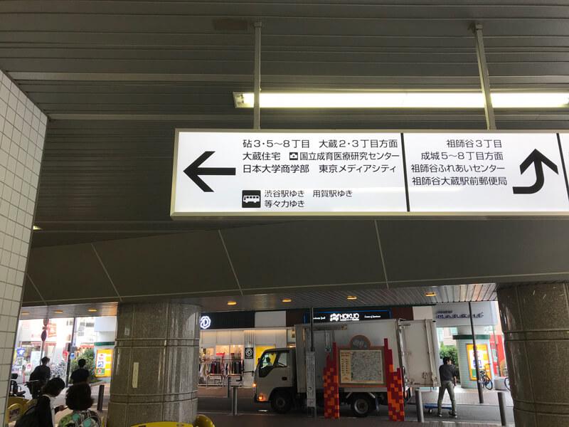 祖師ケ谷大蔵駅改札を出て砧3・5〜8丁目方面へ